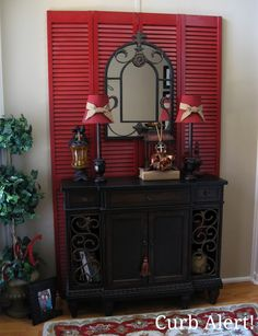 Curb Alert!: Red Shutters in the Entry Way
