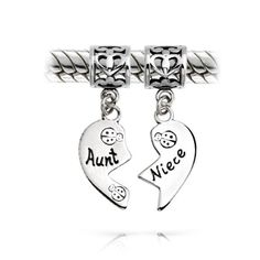 Gifts Bling Jewelry Aunt and Niece 925 Silver Heart Dangle Charm Pandora Compatible-for me and Kyleigh