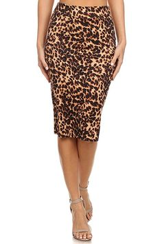 $5.99 Women's Below the Knee Pencil Skirt for Office Wear - Made in USA,Animal Print,X-Large