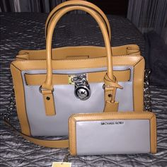 PRICE CUT ✂️ New MICHAEL KORS Hamilton bag  Beautiful Hamilton camel and gray bag! This bag is NWT and never been worn! Beyond gorgeous and perfect condition with packing still in bag. THE perfect Christmas gift! ❤️ wallet sold separately or bundle! No trades!  Michael Kors Bags