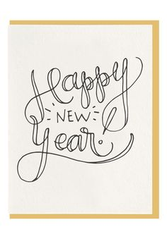 Happy New Year Script Letterpress Greeting by DahliaPressShop Christmas Fun, Holiday Fun, Holiday Cards, Holiday Gift Guide, Merry And Bright, Paper Goods, Letterpress, Happy New Year, Script