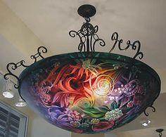 Ulla Darni Danish reverse-painted illuminated art glass chandelier