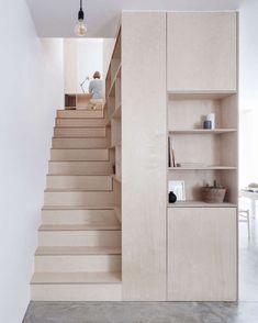 Staircase Storage, Stair Storage, Interior Stairs, Home Interior Design, Plywood Interior, Plywood Furniture, Kitchen Furniture, U Shaped Staircase, Plywood Kitchen