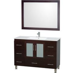 Wyndham Collection Katy 48 inch Single Bathroom Vanity in Espresso, White Porcelain Countertop, White Porcelain Sink, and 46 inch Mirror