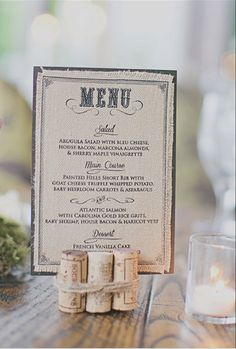 tie corks together with jute twine to hold photos etc. - Burlap Wedding Menu by…