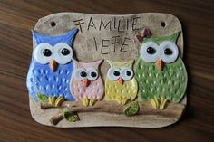 Owl door sign bell sign, ceramic, clay, handmade Please have a look at our page: www.tholiko-keram … Hello, I have a great door sign here. Ceramic Houses, Ceramic Clay, Ceramic Pottery, Ceramics Projects, Clay Projects, Clay Crafts, Owl Door, Air Dry Clay, Elements Of Art