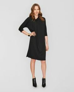 Drape Neck Jersey Dress,Black,original - 2