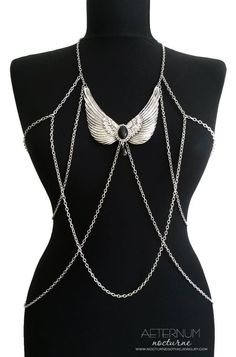 harness with chains, wings and black acryllic stone with Swarovski crystal pendant <3
