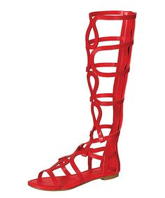 Red Gladiator Sandals Faux Leather | Shoeicide! | Pinterest ...