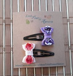 """These adorable snap hair clips are made of high quality Japanese kimono fabric called """" Chirimen( Crape fabric)"""" which are used to make kimonos or traditional Japanese accessories. Japanese Fabric, Japanese Kimono, Pink Purple Hair, Kimono Fabric, Traditional Japanese, Girls Accessories, Hair Bows, Hair Clips, Birthday Gifts"""