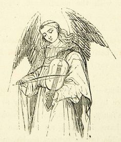 Amazon.com: 1872 Print Angel Wings Stringed Instrument Violin Bow Robe Music Religious Art - Relief Line-block Print: Posters & Prints