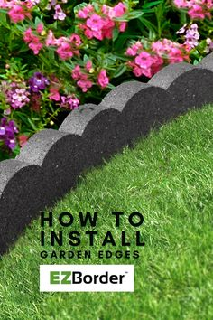 "Learn how to install Scallop Border, a recycled rubber garden edge from the EZBorder GardenCurve collection! These garden edges are 48"" long and 2"" thick, very flexible to hug garden curves and tree surrounds. Use these durable edges instead of cement edges, as they are lighter weight and easier to move around. Furthermore, they can be trimmed with a utility knife to custom fit to your space! Enjoy your outdoor living space with garden beautification tips from EZBorder! Landscape Edging, Garden Edging, Garden Borders, Lawn And Garden, Garden Beds, Decorative Borders, Utility Knife, Recycled Rubber, Outdoor Living"
