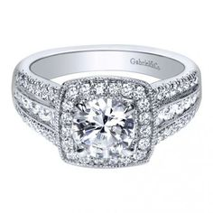 14K White Gold Contemporary Halo Engagement Ring Style ER10180W44JJ