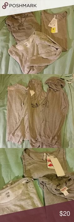 I love gray tops w/leggings 3 pc lot S Three cozy gray tops. All great with leggings!   Size small ribbed mossimo hooded shirt  Size small lycra nwt beatrix  Size medium ana rhinestone shoulder sweatshirt   Being sold as a lot! Mossimo Supply Co Tops Tees - Long Sleeve