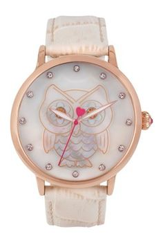 Women's Mother of Pearl Owl Dial Croc Embossed Leather Strap Watch