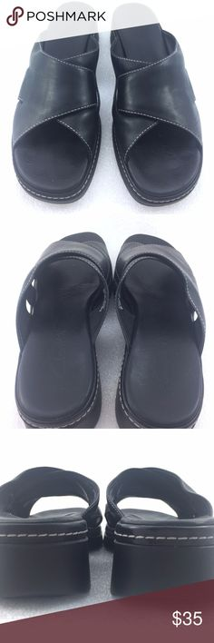 Black Leather Slide
