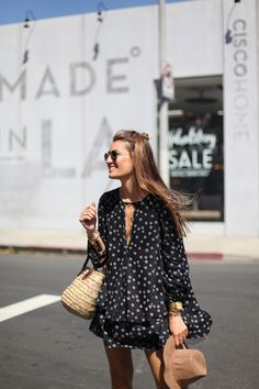 polka dot boho inspired dress with straw accessories