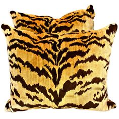 "Pair of Scalamandre ""Le Tigre"" Silk Velvet Pillows 