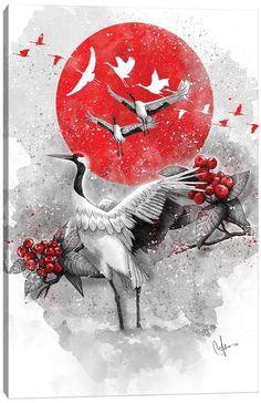 Canvas Prints by Marine Loup | iCanvas Japanese Tattoo Designs, Japanese Tattoo Art, Japanese Artwork, Japanese Painting, Japanese Prints, Japanese Poem, Anime Kunst, Anime Art, Arte Ninja