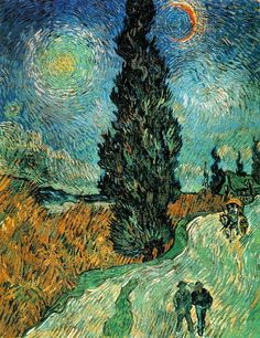 Vincent van Gogh, Road with Cypress and Stars (1890). Oil on canvas, 92 x 73 cm. Rijksmuseum Kroller-Muller, Otterloo, Holland.