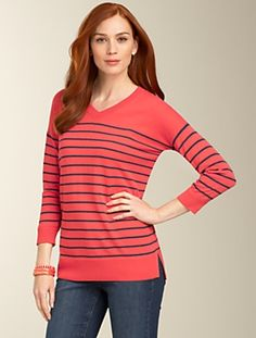 Talbots - Striped Shirttail-Hem Sweater | New Arrivals | Misses