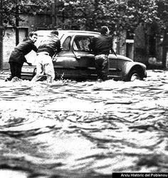 Las típicas inundaciones en Poblenou, por suerte erradicadas, en 1987.