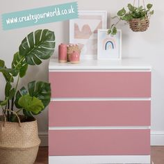 """Create Your World Ltd's Instagram photo: """"Use our soft matt ash rose pink for drawer fronts 💕 so easy to give #ikea furniture a unique look!  . . . . . #ikeafurnitureparty…"""" Ikea Furniture Hacks, Sticky Back Plastic, Static Cling, Kitchen Doors, Drawer Fronts, Floating Nightstand, Pink Roses, Create Yourself, Drawers"""