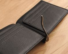 Anza Compact Wallet - Black Italian Veggie-Tanned Genuine Leather Money Clip Wallet
