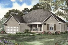 This delightful one level 4-bedroom Ranch home can have either a full brick or siding exterior.  Ranch House Plan # 151468.