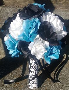 Silk Bridal Bouquet White Roses & Black Roses, Turquoise roses by SilkFlowersByJean, $60.00