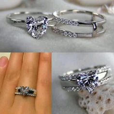 Engagement & Wedding ring. Diamond heart. The three bands symbolize God, man, and woman although I don't think I would like heart shape diamond but still pretty and good idea!