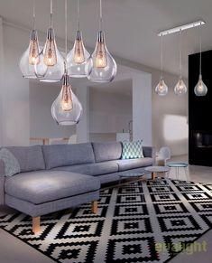 Lustra moderna design deosebit ELEKTRA 3 LINE - Corpuri de iluminat, lustre, aplice Interior Styling, Interior Decorating, Apartment Renovation, Carpet Design, Blue Pillows, Chandelier, House Design, Ceiling Lights, Living Room
