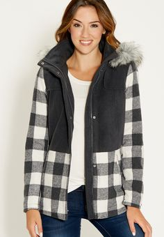 plaid jacket with fa