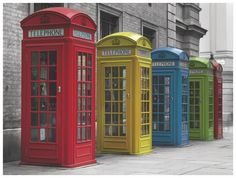 Transform your boring walls with fun prints and funky frames. This Phone box canvas should do just the trick. Diy Home Interior, Interior And Exterior, Editing Suite, Antique Phone, Yellow Wall Art, Telephone Booth, Architecture Drawings, Booth Design, London England