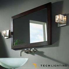 Classic geometric shape made of pressed glass, Cube #wallsconce provides ambient and up-light. #halogen #techlighting  http://www.allmodernoutlet.com/tech-lighting-cube-wall-sconce/