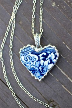 Broken China Jewelry Heart Pendant Blue and by Robinsnestcreation1