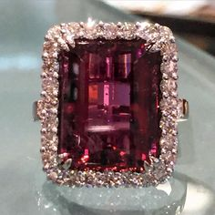 Another beauty! #rubellite #diamonds #rings Call 216-464-6767 for more information www.alsonjewelers.com