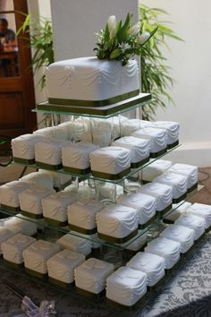 Small Square Cakes | wedding cake and mini cakes all fudgy chocolate with the