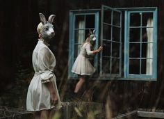 bunny, rabbits, masks, vintage, creepy, trance, photography