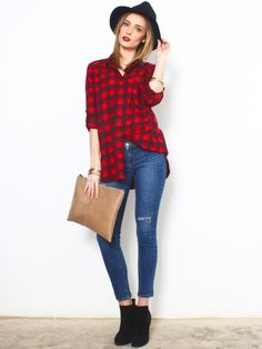Glassworks Oversized Black and Red Check Top