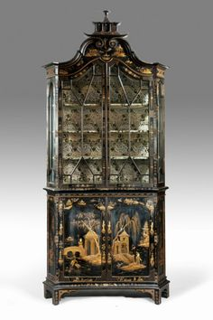 Chinoiserie Chic: Black and Gold Chinoiserie~ love the way the back has been decorated in gilt landscape scenes.