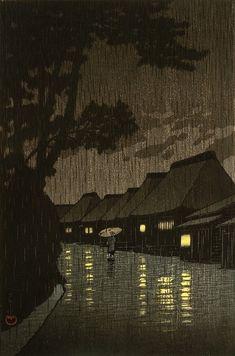 Rainy Night at Maekawa, by Kawase Hasui, woodblock print, 1932 Japan Illustration, Botanical Illustration, Rainy Night, Night Rain, Night Time, Art Asiatique, Art Japonais, Japanese Painting, Chinese Painting