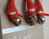 Items similar to Woodland Gnome Ornaments Tiny Pine Cone Elves -- set of 3 on Etsy Pine Cone Crafts, Christmas Projects, Holiday Crafts, Holiday Fun, Holiday Decor, Noel Christmas, All Things Christmas, Winter Christmas, Christmas Ornaments