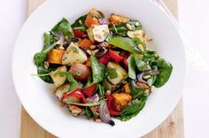 Roasted veg salad - roast cubed sweet potato, potato, capsicum, pumpkin and onion until tender. Cool. Toss with baby spinach/rocket, coriander/parsley, feta, and dressing of lemon and olive oil.