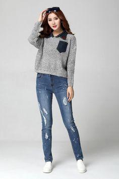 PWDM4078 Plus Size Ragged Jean