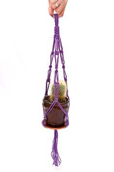 Purple Macrame  Plant  Hanger 15 inches 3mm mini by DanceOfTheSoul