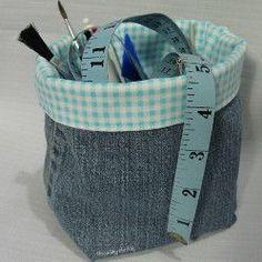 Denim Fabric Basket Tutorial | AllFreeSewing.com