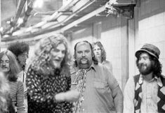 John Paul Jones, Robert Plant, Led Zeppelin Tour Manager Peter Grant and Jimmy Page