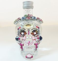 SOLD - Crystal head Vodka bottle decorated with Swarovski crystals by Krazy4Crystals, $39.00