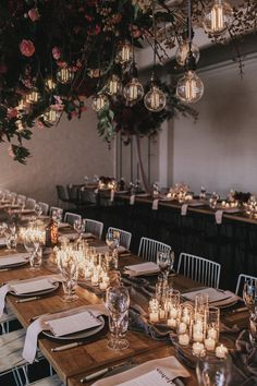 Warehouse wedding designed & styled by Nomad Styling Floral installation with beautiful pendant lighting